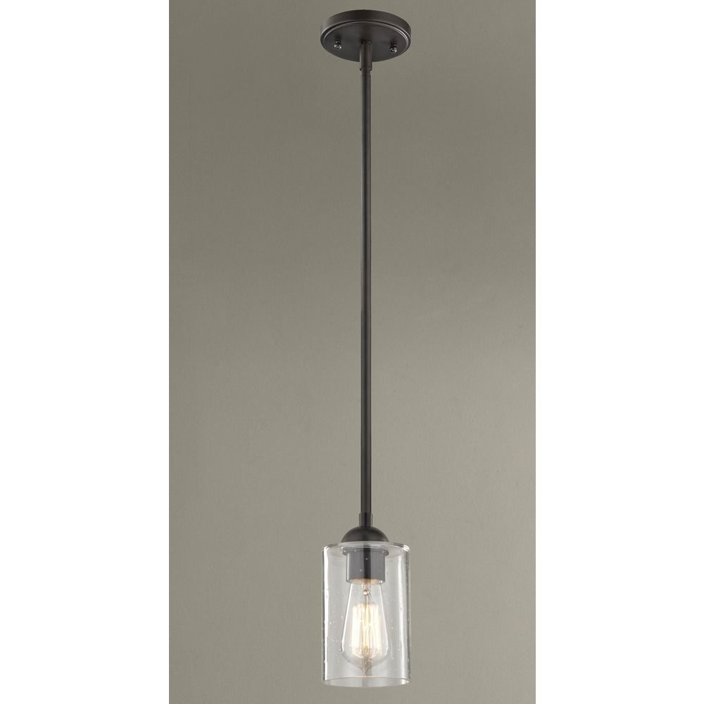 Industrial Seeded Glass Mini Pendant Light Bronze Mini Pendant