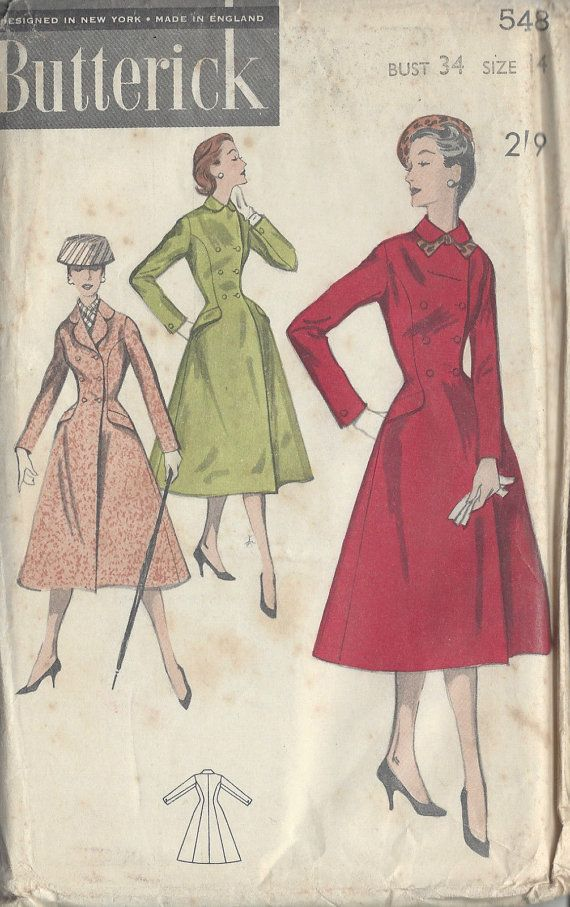 1950s Vintage Sewing Pattern COAT B34 (R795) Butterick 548 ...