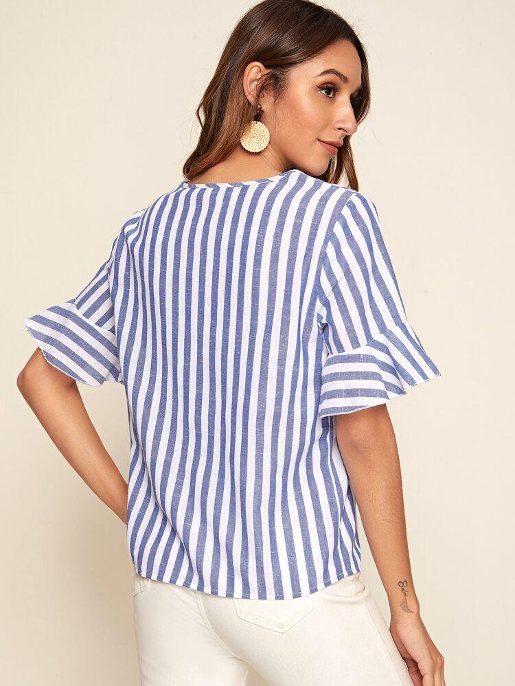 Notch Neck Ruffle Cuff Striped Top Shein Striped Top Striped Tops