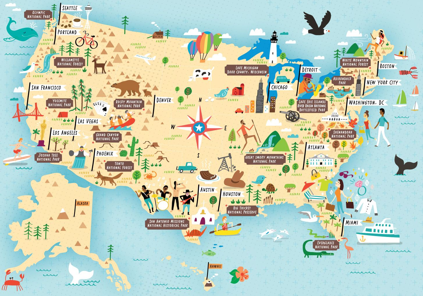 Illustrated map of US National Parks by Nate Padavick maps