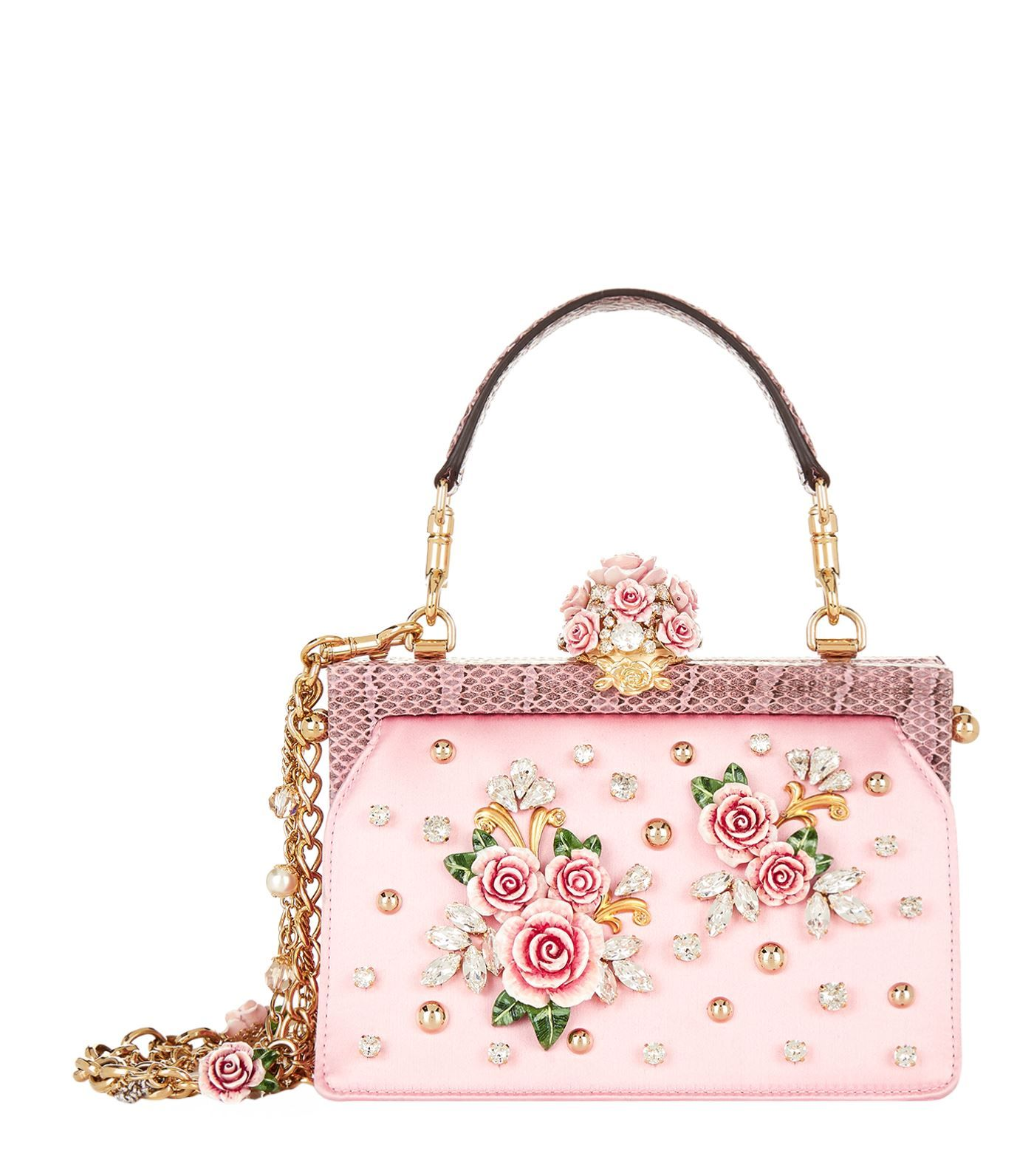 52e99a68bf8 #dolcegabbana #bags #hand bags #. Dolce & Gabbana Satin Rose  Embellished Top Handle ...