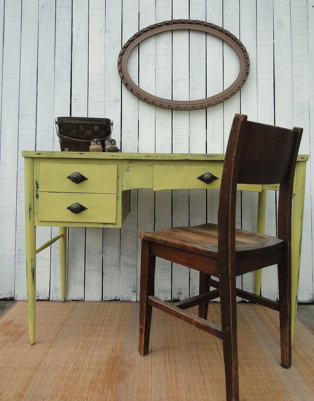 Vintage Modern Wooden Desk Vanity Entry Table In