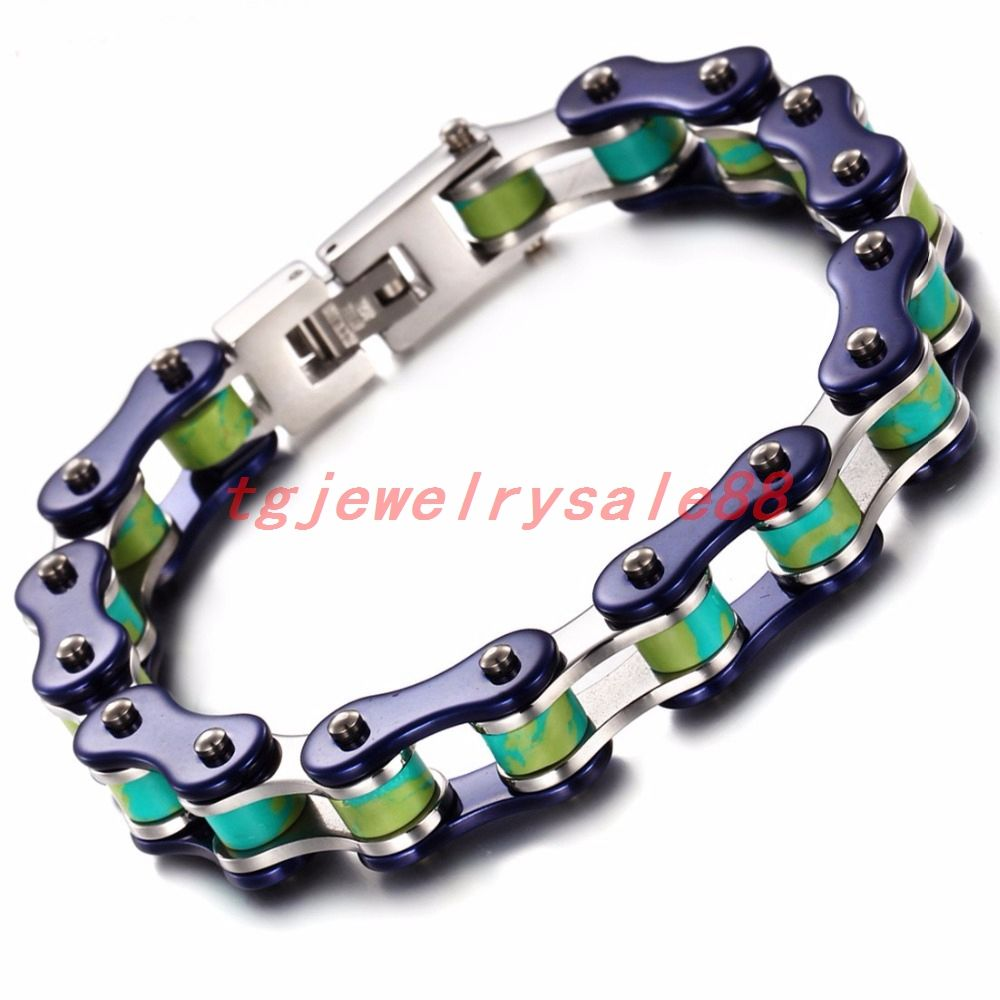 Mm wide silver blue color menus bicycle motorcycle chain bracelets