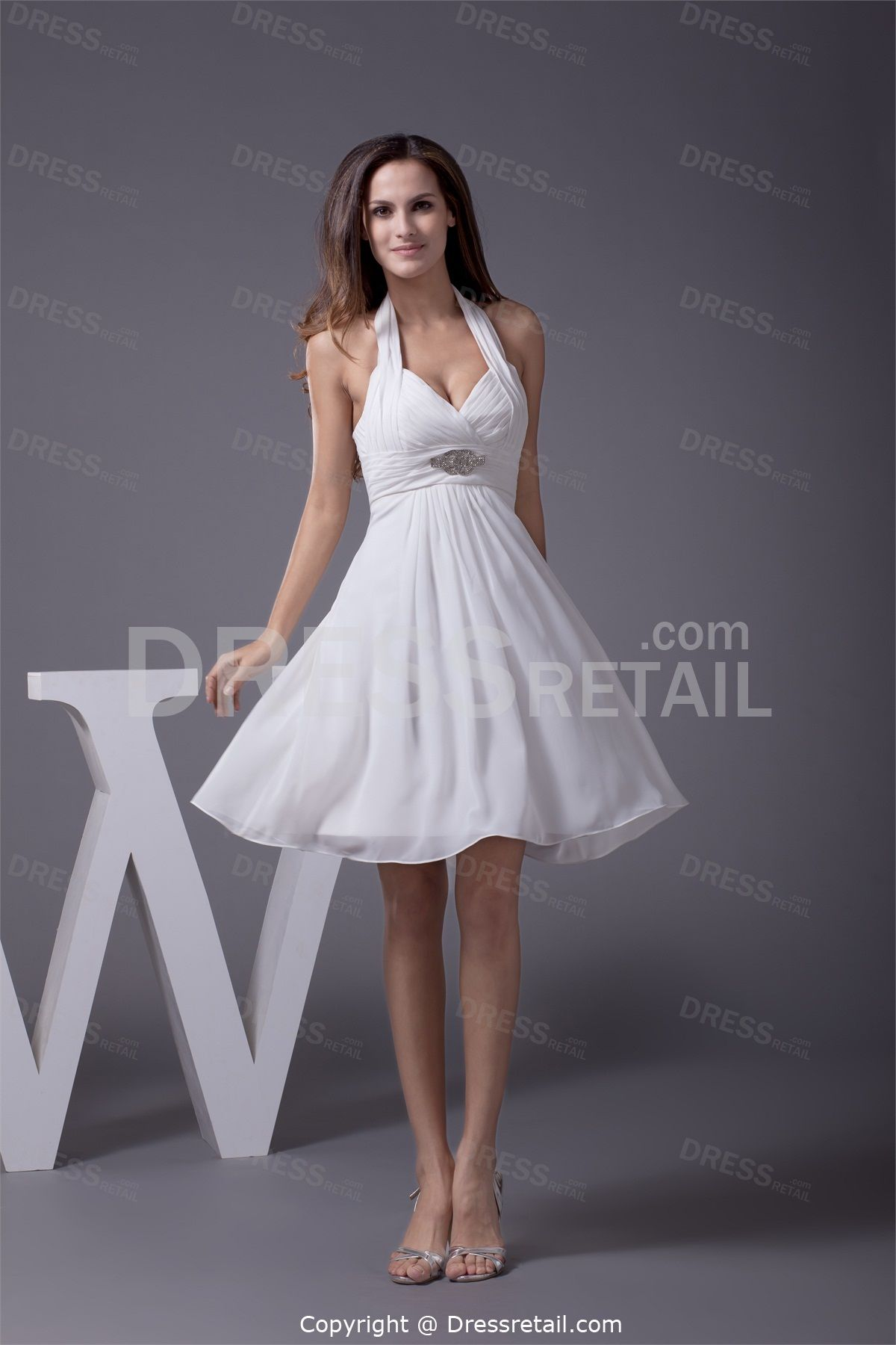 Mini white wedding dress  Elegant Short Mini Chiffon Halter White Bridesmaid Dress  wedding