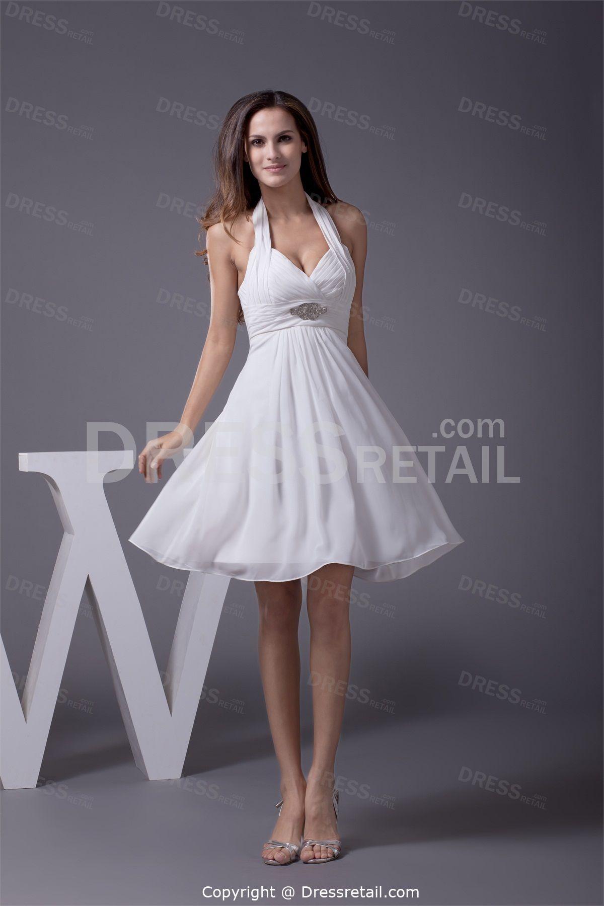 Elegant short mini chiffon halter white bridesmaid dress elegant short mini chiffon halter white bridesmaid dress ombrellifo Choice Image