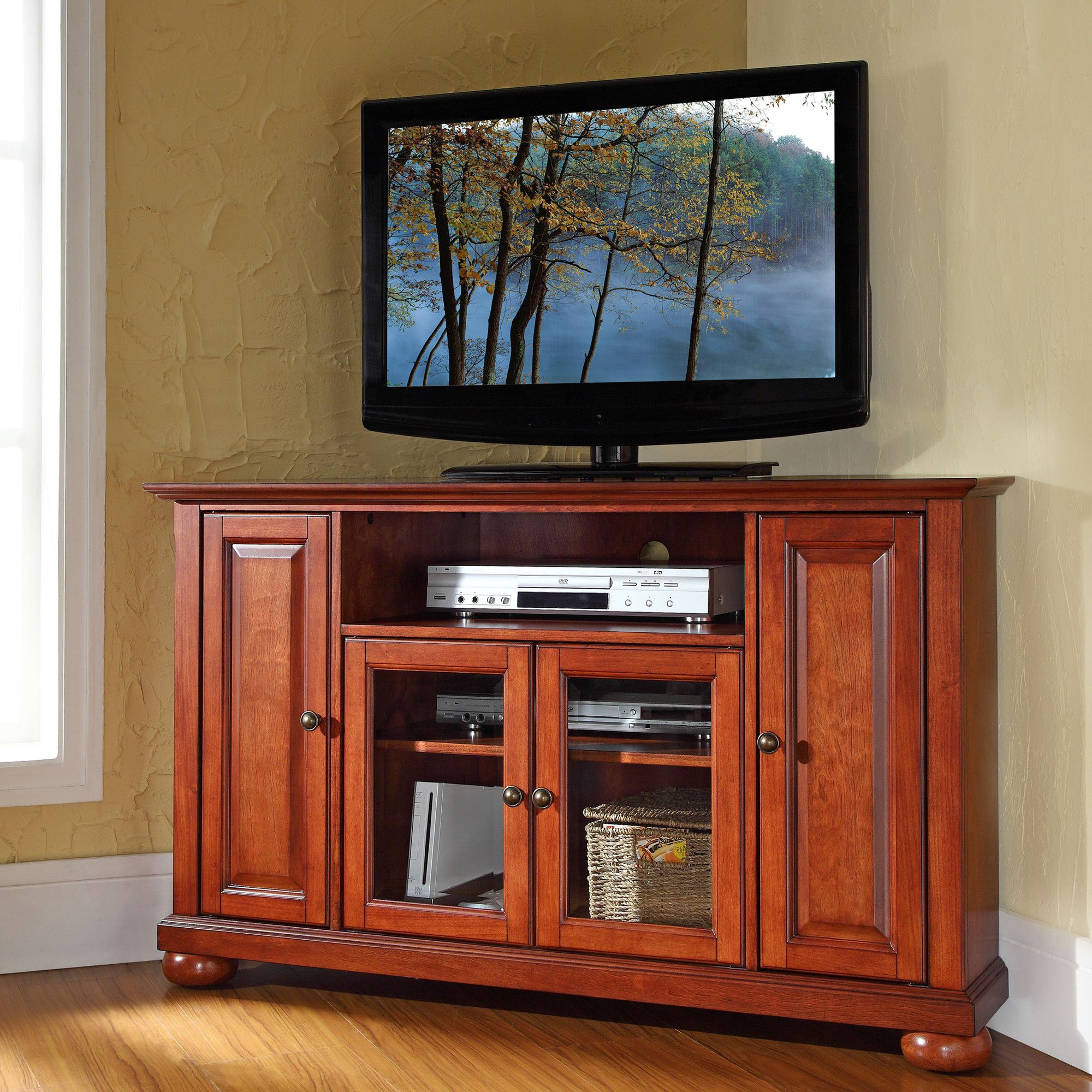 Hokku Designs Alexandria Corner Tv Stand Reviews Wood Corner Tv Stand Corner Tv Stand Corner Tv