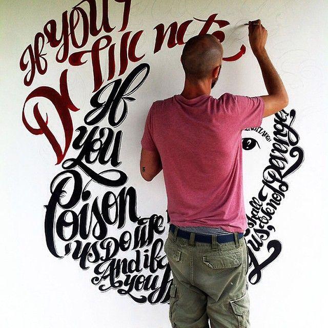 Me at work, calligram of Al Pacino's face on Shakespeare's Mechant of Venice, 11 Lune festival, Tuscany 2014 #calligram #calligraphymasters #calligraphy #calligritype #type #typeblog #typeverything #typographyinspired #goodtype #betype #streetart #shakespeare #alpacino #danieletozzi aka #misterpepsy