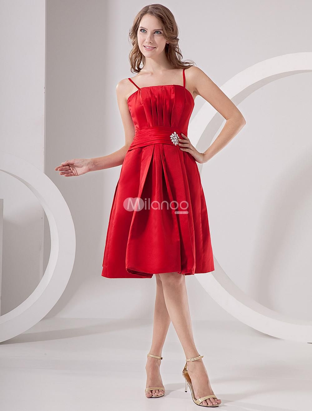 Red satin empire waist strapless homecoming dress if youre looking