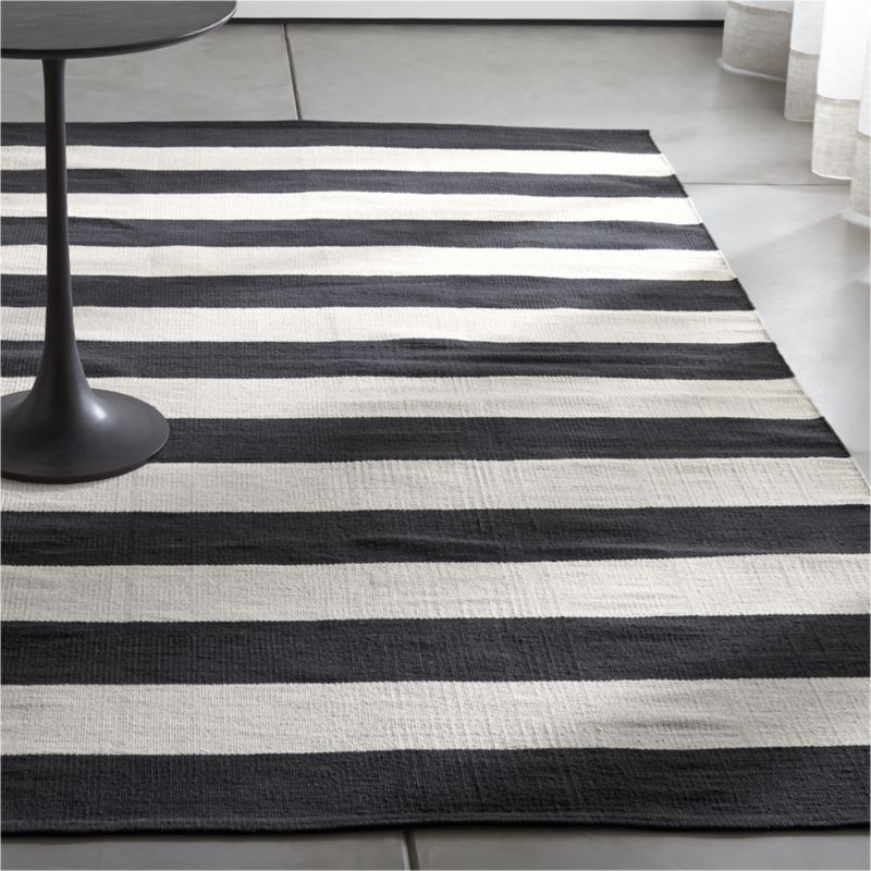 Olin Black Striped Cotton Dhurrie 8 X10 Rug Crate And Barrel