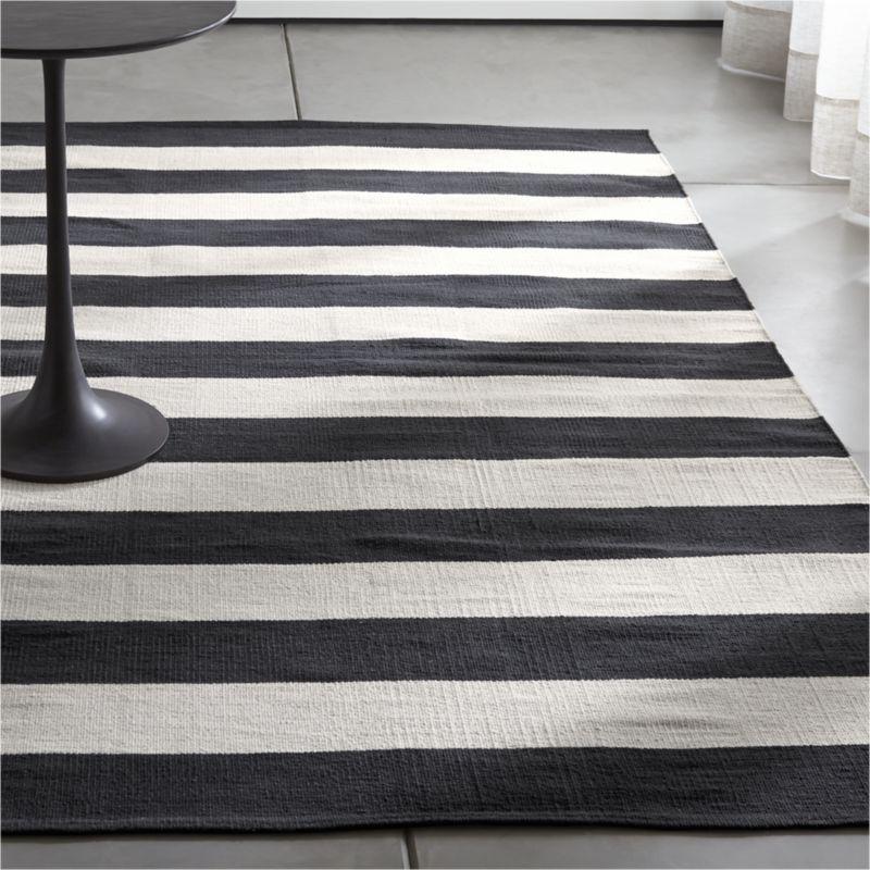 Captivating Olin Black Striped Cotton Dhurrie Rug Amazing Ideas