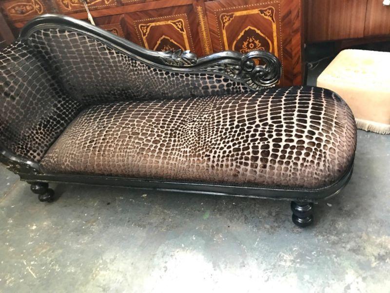 Longue Victorian Recovered Supurb Chaise In Animal Print rdCshQt