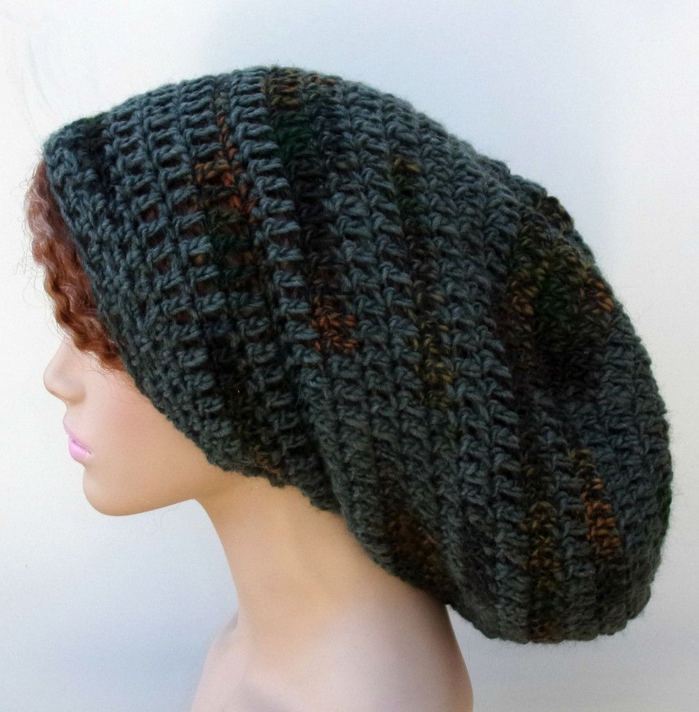 Pine Green Gray Slouchy long Dread Tam men women Hippie Beanie Hat ...