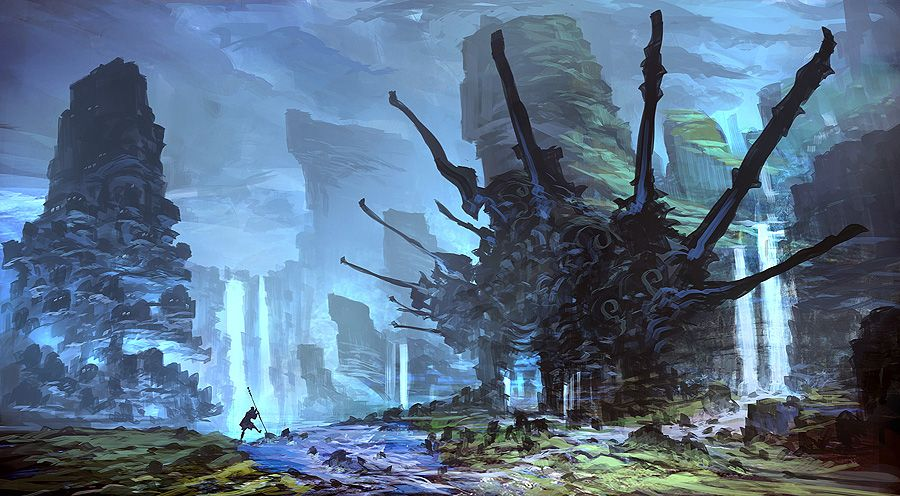 Caneman Is At It Again Art By Feng Zhu Who Originally Gave Me The Idea For The Blog Anime Scenery Environmental Art Environment Concept Art