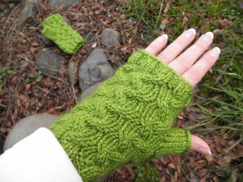 Green Glitter Fingerless Mittens. Get them on Etsy.