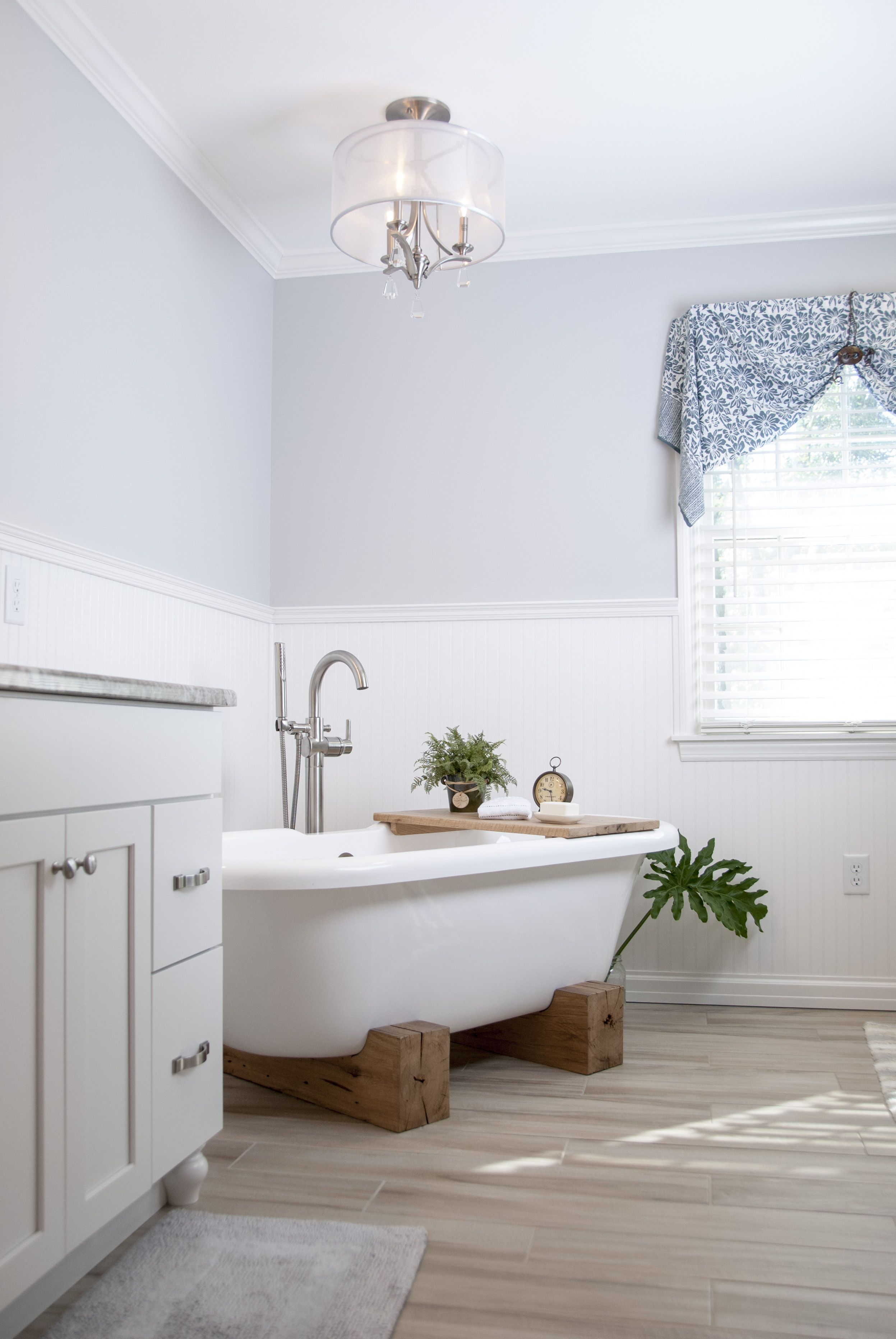 grey and white bathroom, beadboard, custom bath tub, wainscoting ...