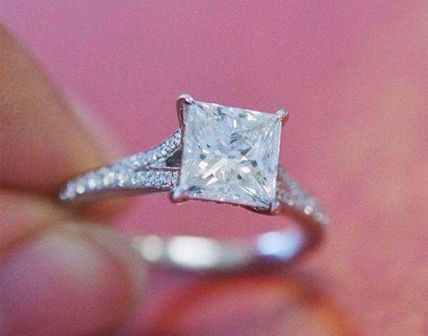 engagement rings love this elegant engagement ring featuring claw prongs and accent diamonds - Wedding Rings For Guys