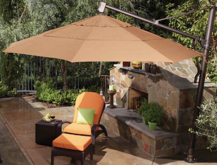 Treasure Garden Umbrella Mounted With Full Tilt Capability