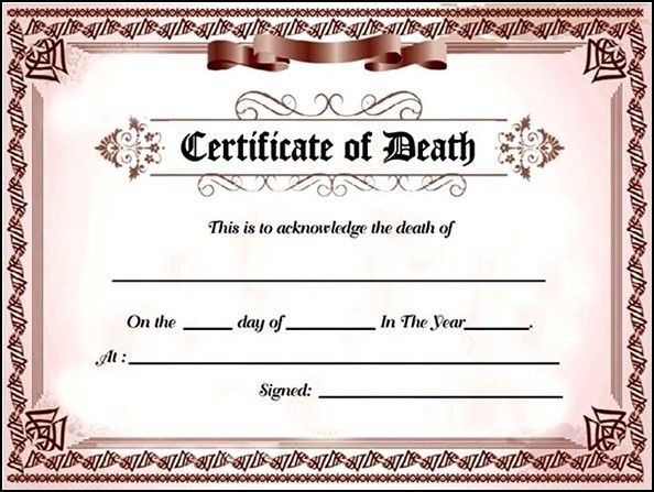 With A Fake Death Certificate For A Family Or Friend, Get A Long   Death  Death Certificate Template Word