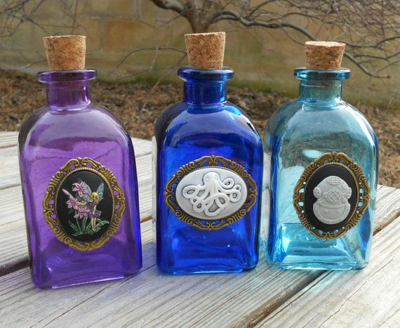 Colored cork bottles book of shadows pinterest cork for Colored glass bottles with corks