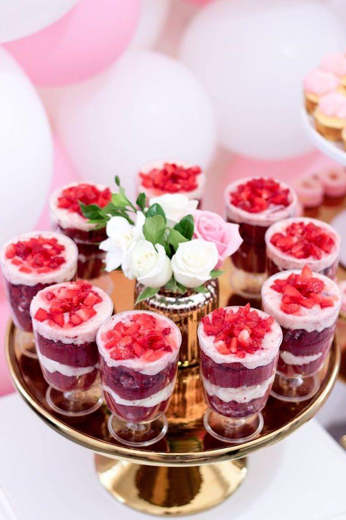 Dessert Cups from a Pink + White & Gold Garden Party via Kara's Party Ideas | KarasPartyIdeas.com (14)