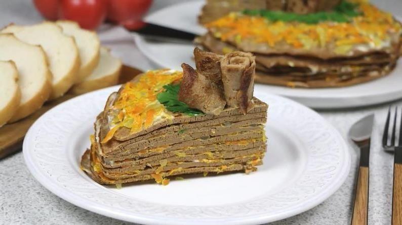 Святковий печінковий торт - рецепт страви до святкового столу  #закуски #кулинария #рецепты #деньрождение