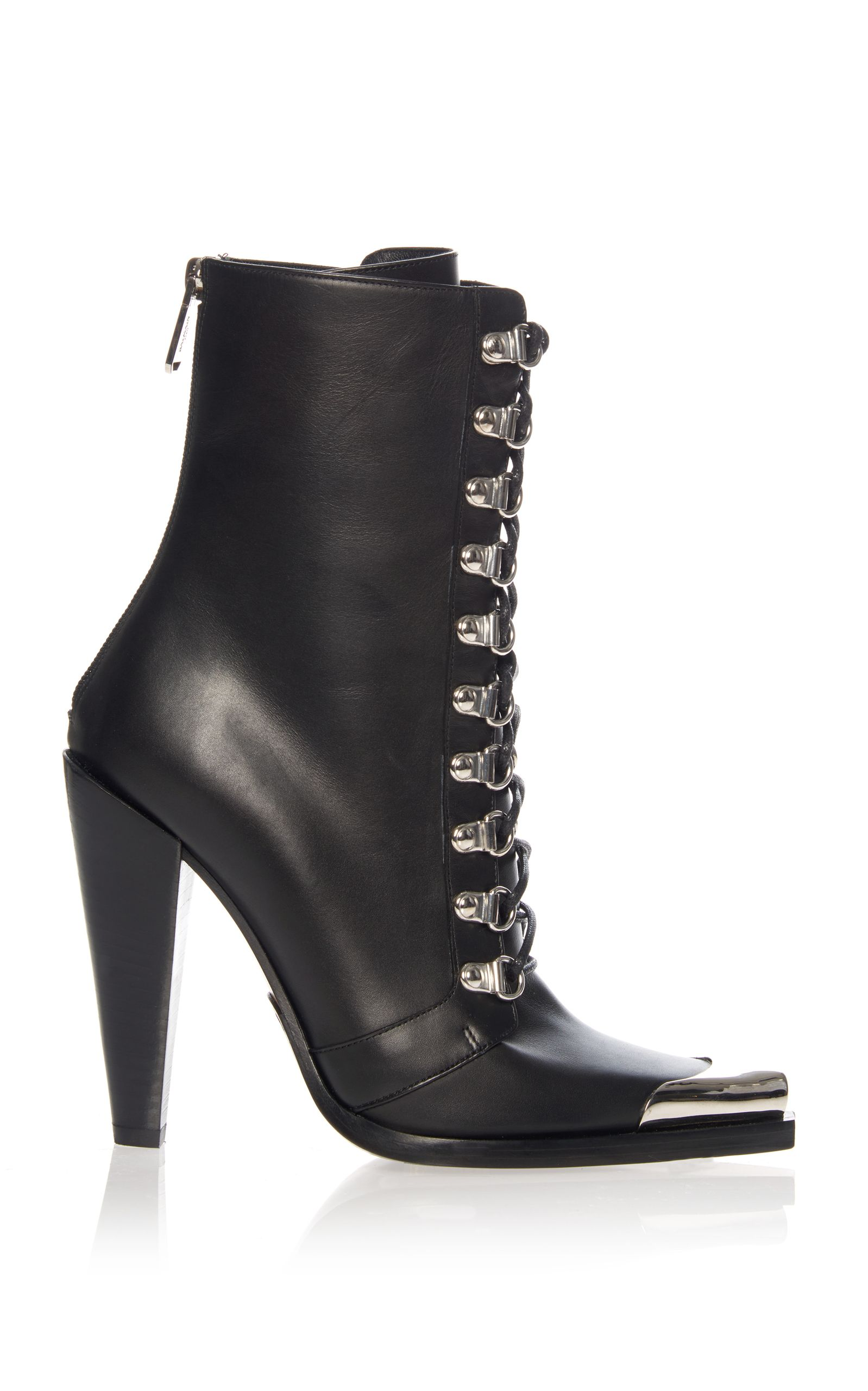 Photo of Balmain | Black Leather Lace Up Booties – Footwear