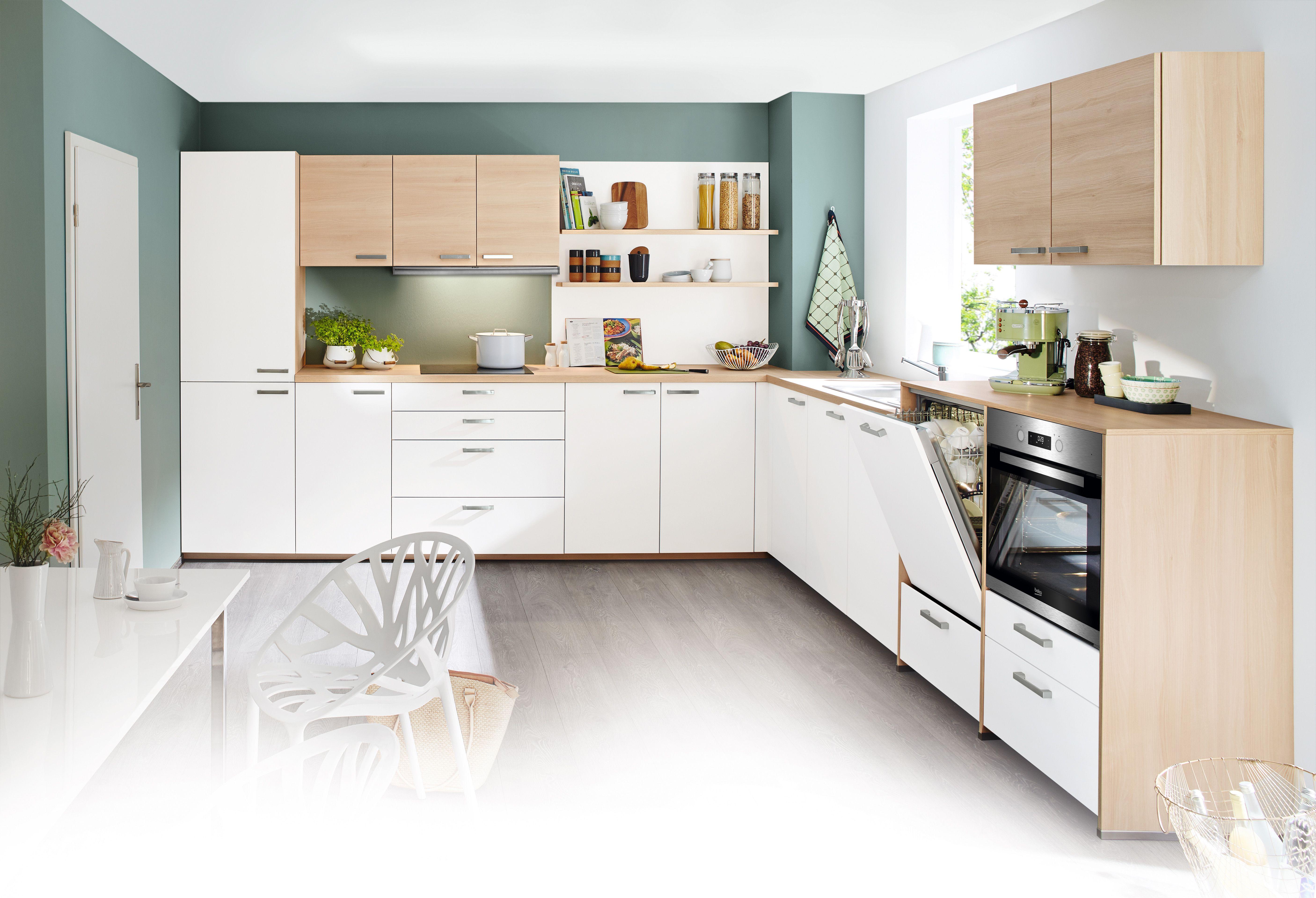 Diese Küche in Kunststoff weiß kombiniert mit