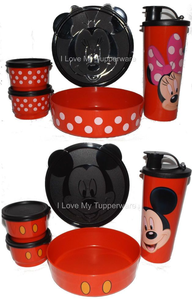 Tupperware Disney MICKEY U0026 MINNIE Mouse Lunch Set Snack Cup Bowl Tumbler DFF