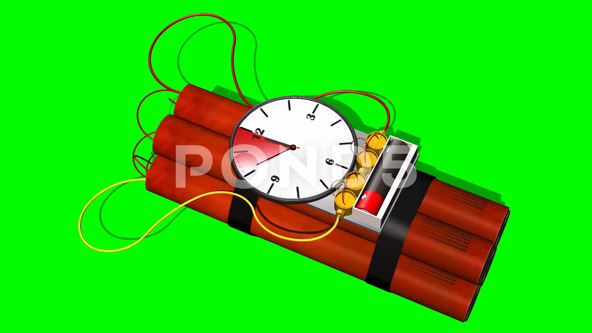 Dynamite bomb with clock timer 10 sec time laps explosion