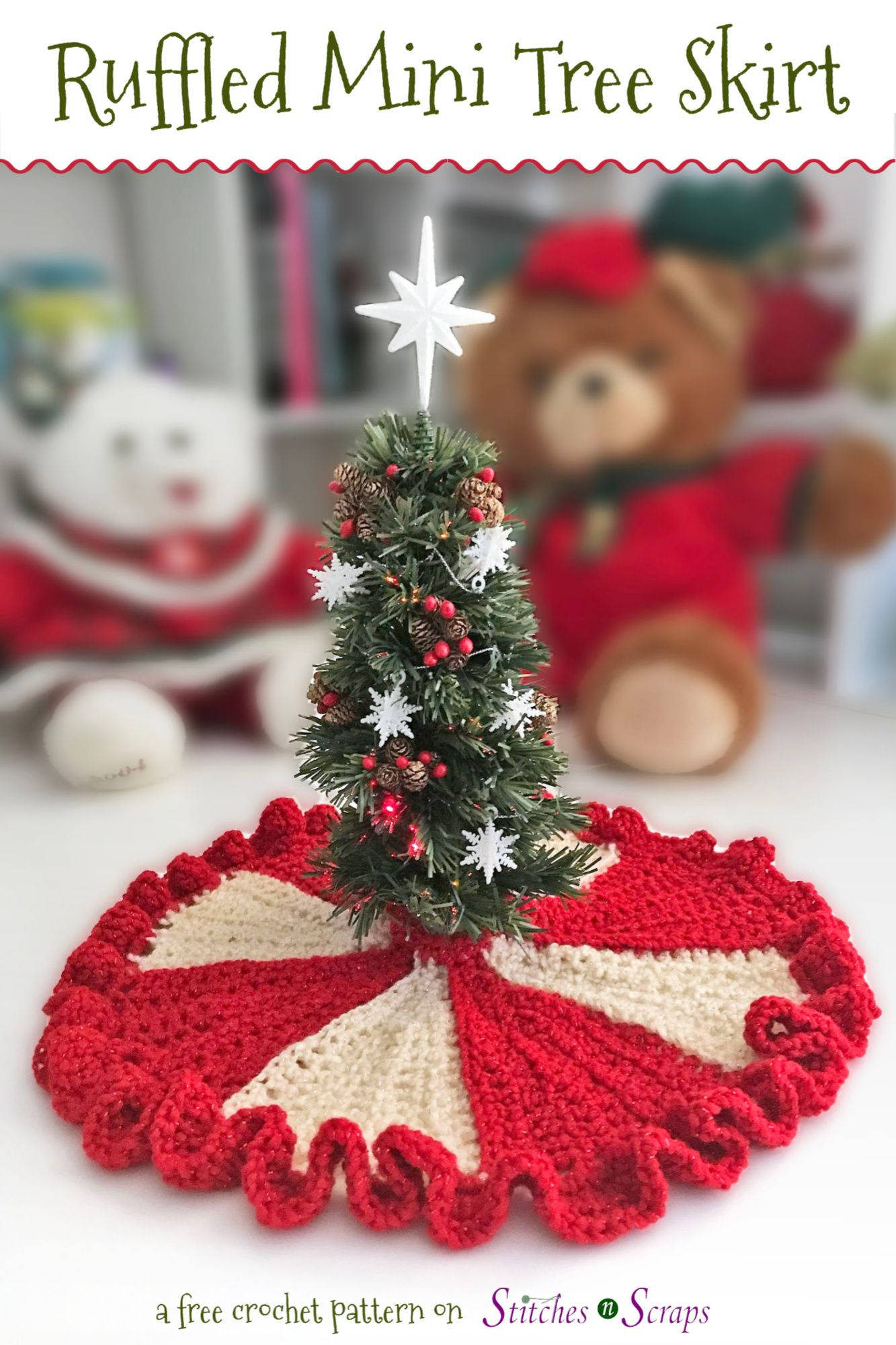 Free Pattern Ruffled Mini Tree Skirt Christmas Tree Skirts Patterns Tree Skirt Pattern Mini Christmas Tree
