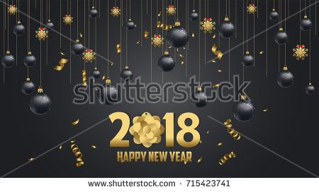 vector illustration of happy new year 2018 wallpaper gold and ...