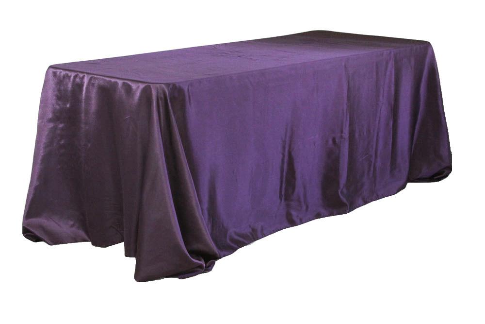 Satin Rectangular 90 X132 Tablecloth Eggplant Plum Table