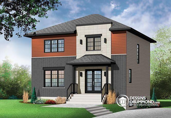 Plan W3714 par Dessins Drummond - by DrummondhousePlans - 3 - facade de maison moderne