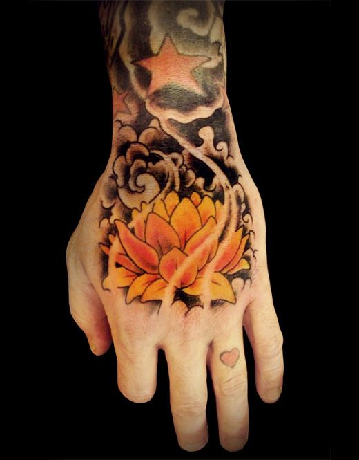 This Is Perfect The Flower Clouds Stars Hand Tattoos Flower Tattoo Lotus Hand Tattoo