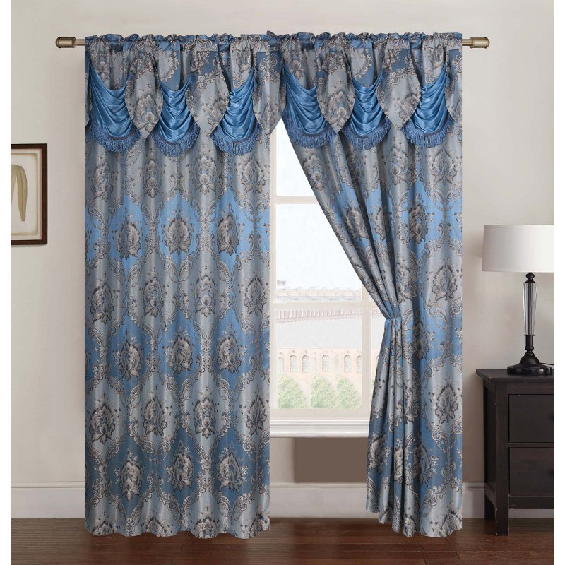 Rt Designers Collection Vernon Damask Jacquard Double Rod Pocket Curtain Panel With Valance Pnv11608 Panel Curtains Rod Pocket Curtain Panels