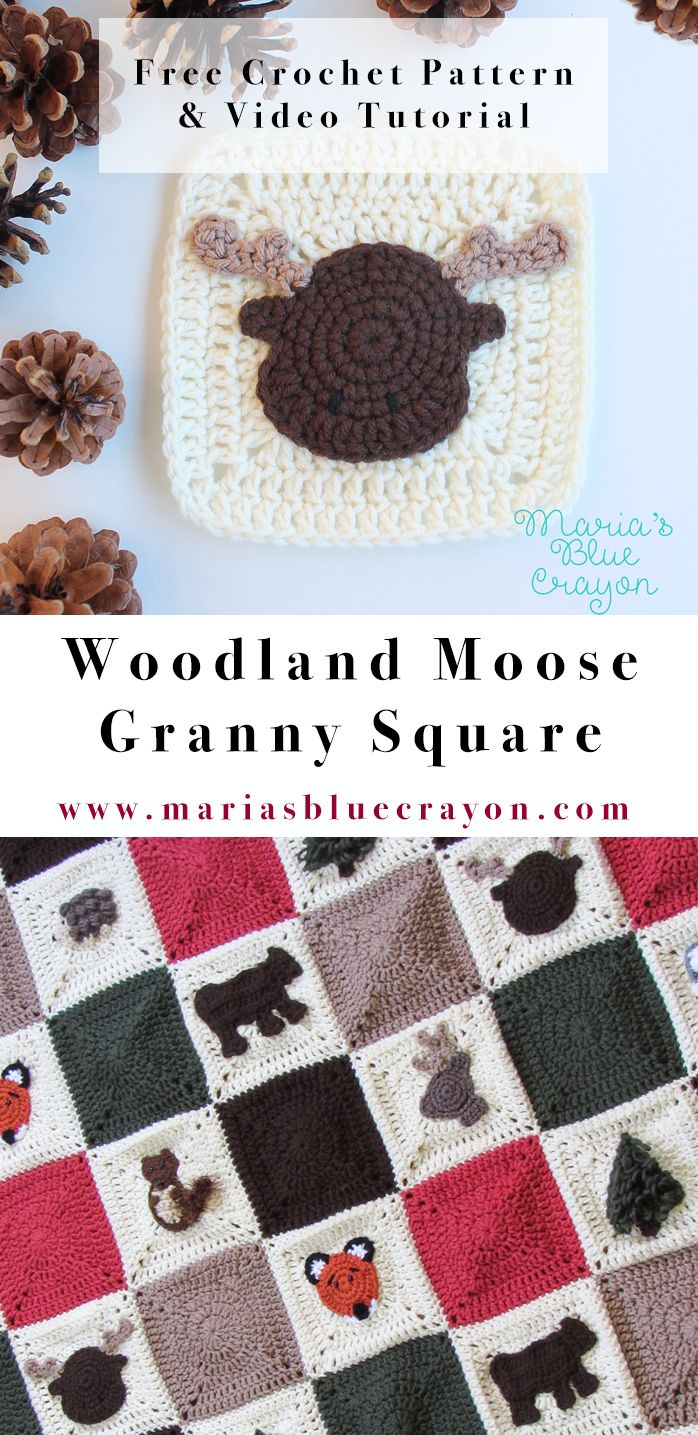 Woodland Moose Applique | Woodland Moose Granny Square | Woodland ...