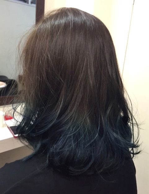 Ash Brown Base Hair Color With Sea Blue Ends Dark Blue Hair