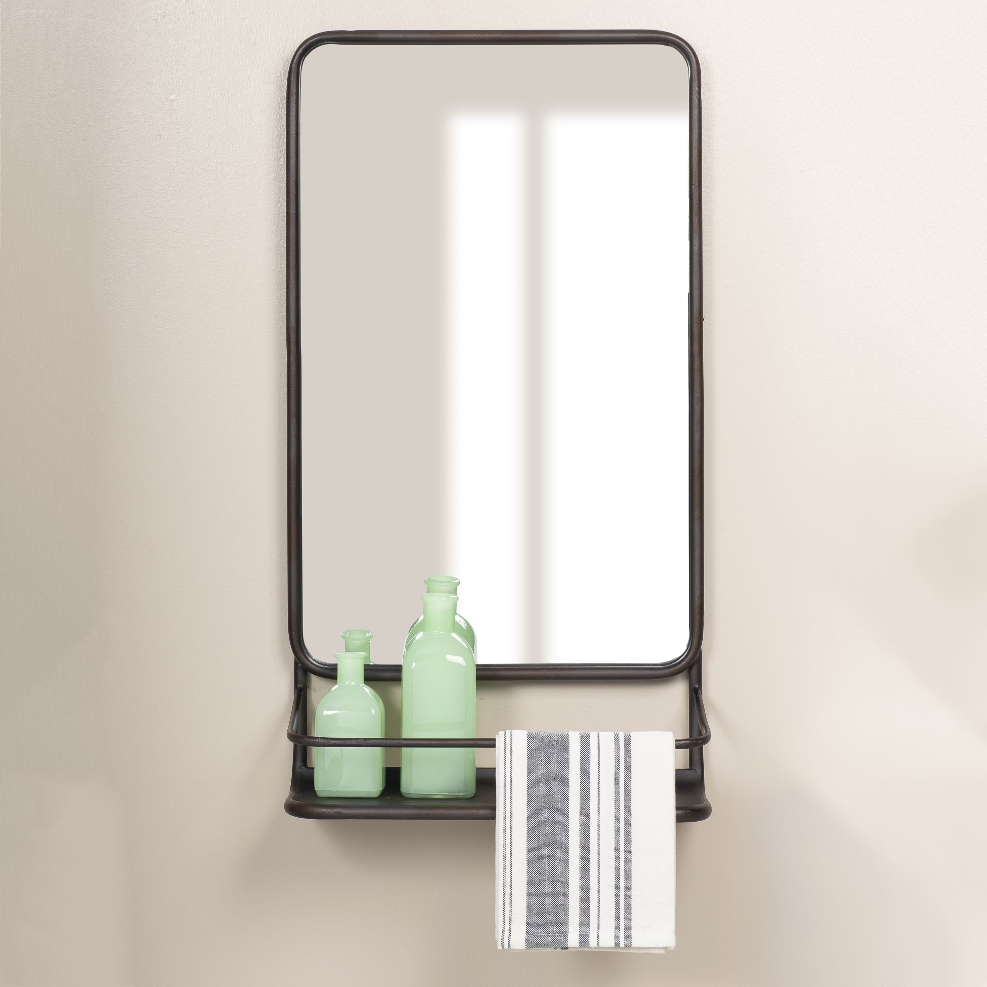Home in 2020 Mirror with shelf, Wall mounted mirror