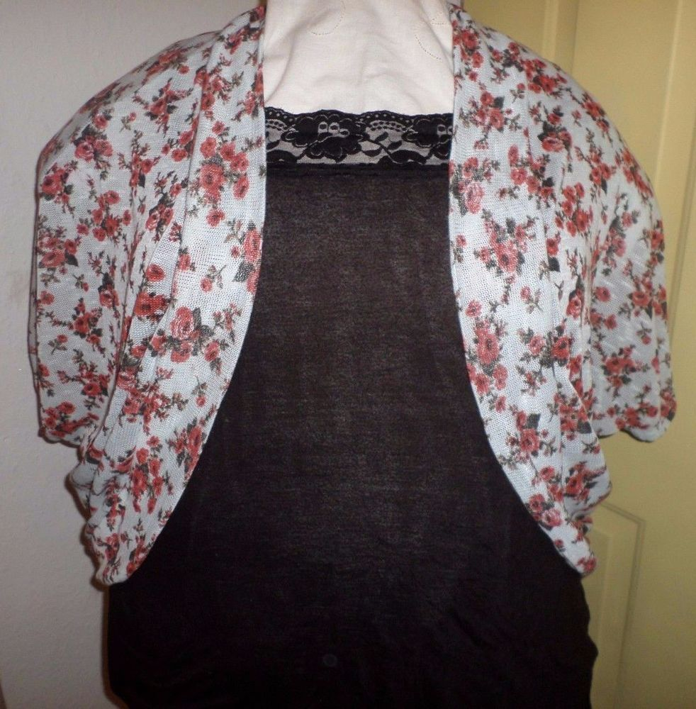 Plus Size COCOON SHRUG Sweater 3X 22/24 NEW Light Blue & Floral ...