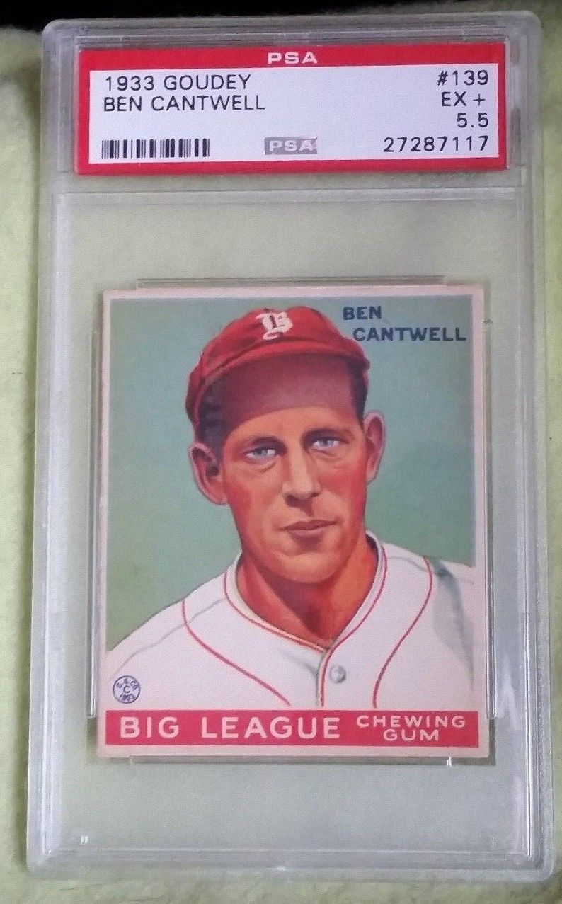 1933 Goudey 139 Ben Cantwell Psa Ex 55 Big League
