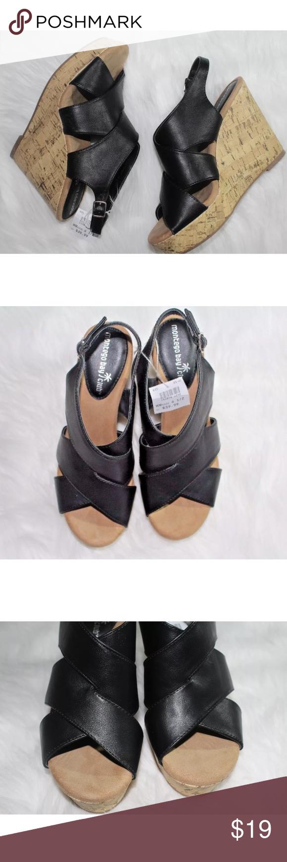 Black wedge sandals 2 inch heel - Montego Bay Club Womens Black Slides Wedges Montego Bay Club Womens Black Slides Platform Wedge Sandals