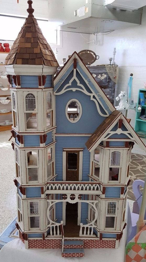 Vintage Victorian Blue Dollhouse Handmade wood over