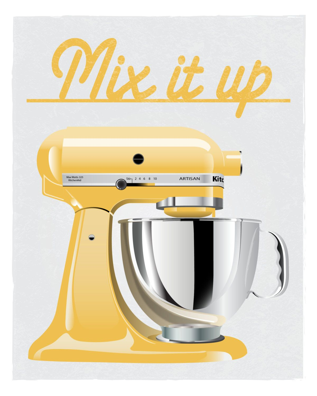Zapping Mixer Print Cucina Arte 8 X 10 Di Littlemarbledesign Kitchen Stand Mixer Kitchen Art Kitchen Aid Mixer