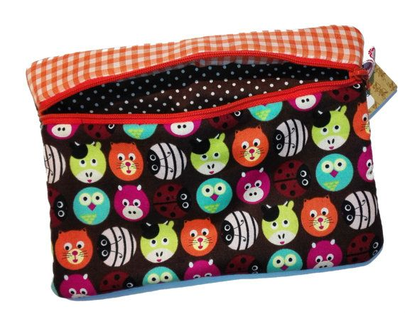 Handmade one of a kind name pencil case, make up bag, colorfull pouch, zipper pouch, lined pouch
