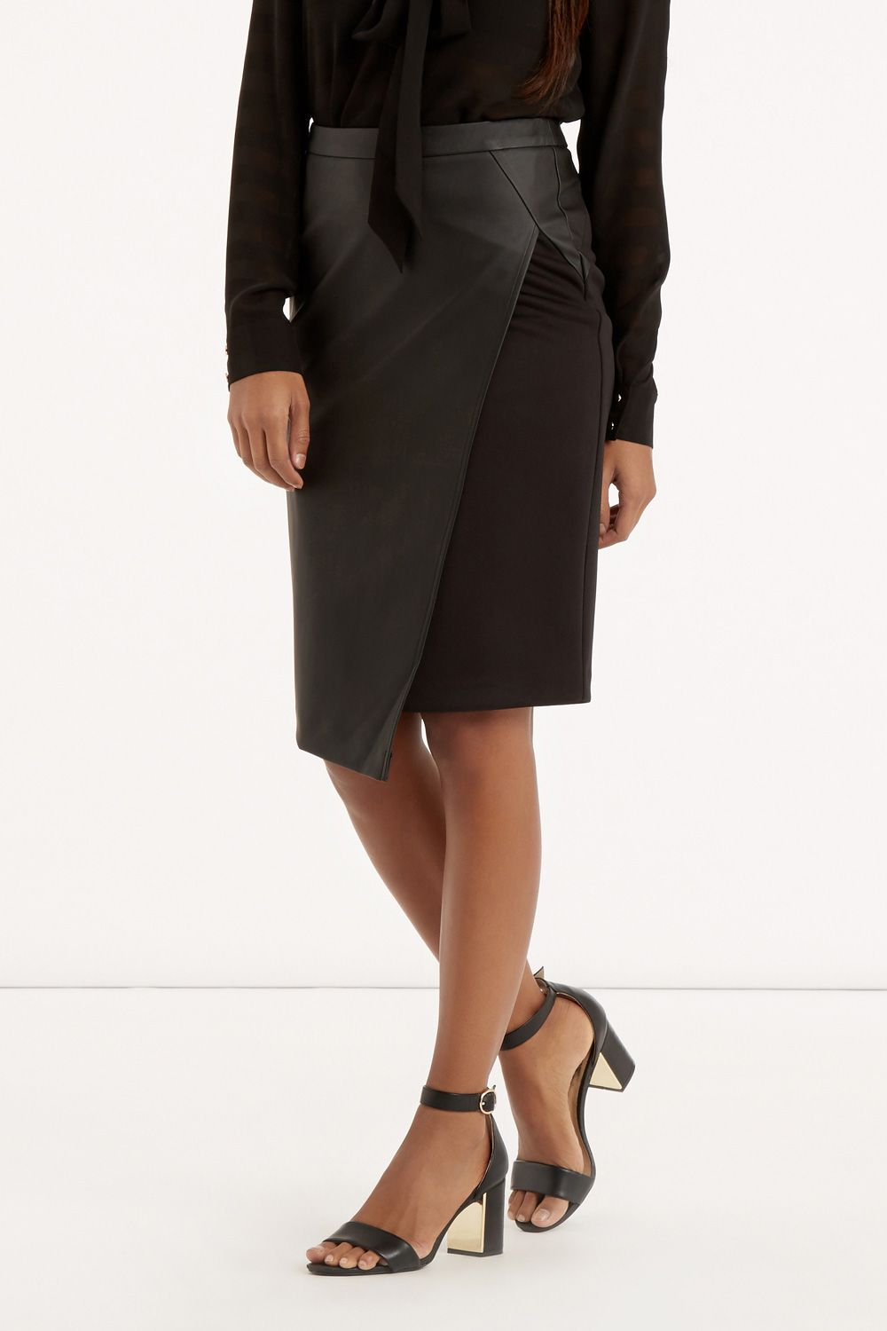 ec34bce831 New In | Black FAUX LEATHER WRAP SKIRT | Oasis | Fall 2015 style ...