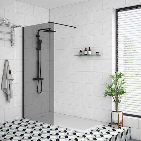 Arezzo Matt Black 1200 x 800 Grey Tinted Glass Wet Room (700mm Screen + Tray) | Victorian Plumbing UK #wetrooms