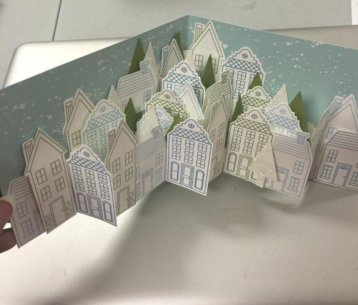 Раскрывающиеся открытки с домами, поделки