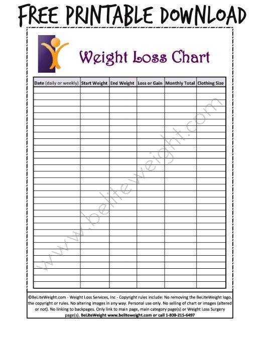 Free Printable Weight Loss Chart | Weight Record Chart | Pinterest ...