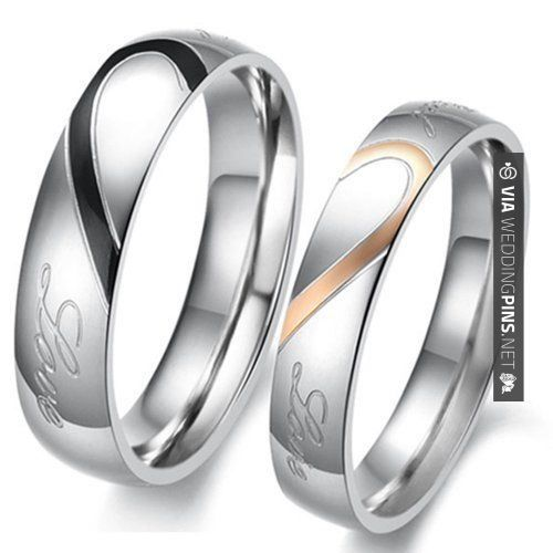 Amazing Couple Love Heart Stainless Steel Comfort Fit Wedding