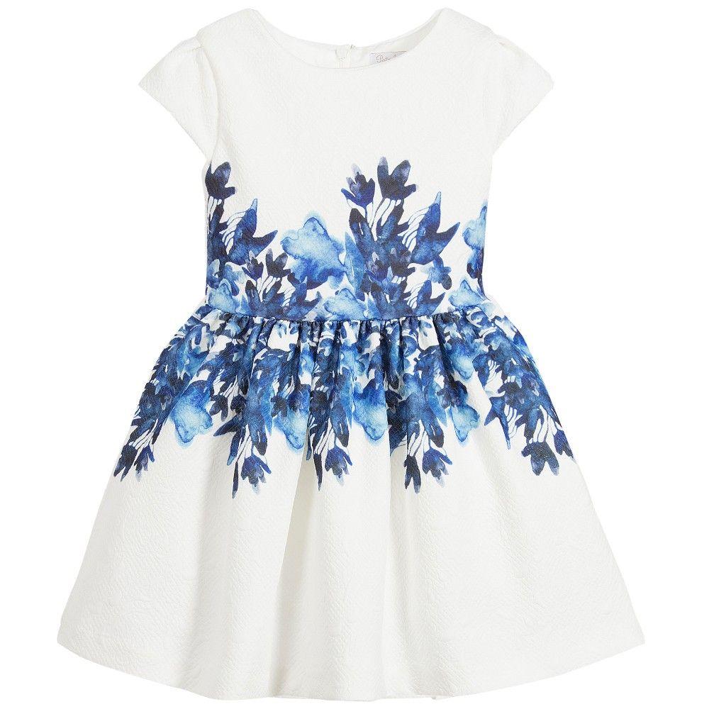 Girls White Dress With Blue Floral Print Bimbe Alla Moda Pinterest